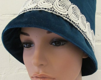 Blue Velvet Vintage Style Hat