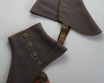 1900's Grey Felt and Leather Spats