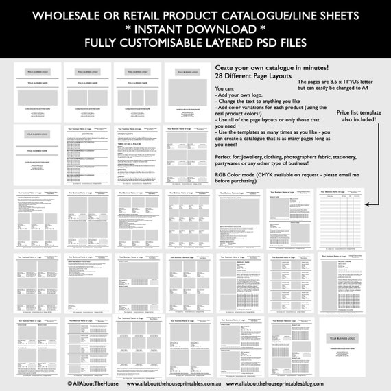Catalogue Template Wholesale Retail Pricing Product Line