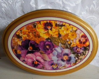 Vintage Pansy Oval Tin Box, Purple, Pink, Yellow, and White Pansies