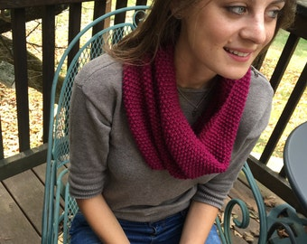 Ribbed Hand-Knit Cowl Scarf