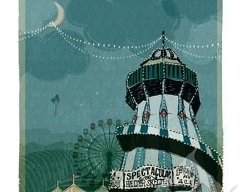Circus Poster, Carnival Lights Art Print - 8x10 Nursery Wall Art, Aqua Blue, Circus Lights