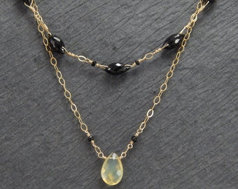 Australian opal and black spinel 2 strand necklace, opal gold necklace,  October birthstone, black stone necklace, spinel necklace