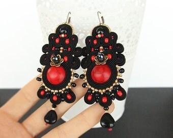 Black soutache earrings, dangle soutache earrings, long soutache earrings, black and red earrings