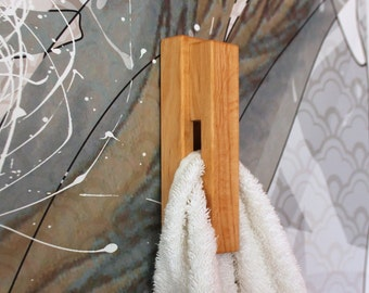 Walnut wood towel holder wood wall hook bath towel hanger