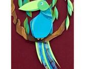 Blue and Green Jungle Cruise Tropical Bird Cut Paper Illustration Fine Art Print