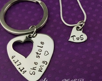 Couples Guitar Pick and Necklace Set, She stole my heart, Personalized, Hand Stamped Jewelry, His and Hers