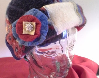 Recycled wool hat, upcycled wool hat, felted wool hat, recycled sweater hats, upcycled sweater hat