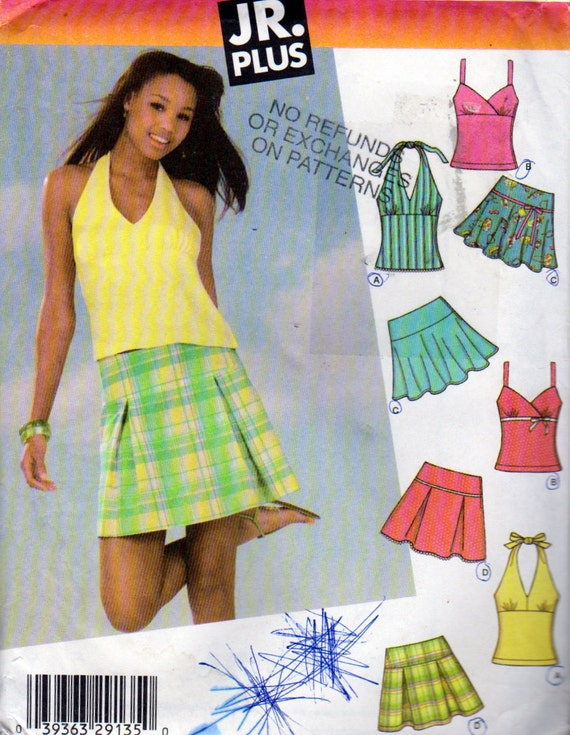 Simplicity 4604 JR Trend Girls Mini Skirts And Halter Tops