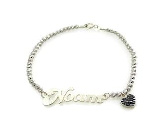 Name bracelet. Heart silver bracelet. Silver bracelet. Beaded name bracelet. Personalized bracelet. Sterling silver bracelet.  Gift ideas