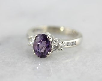 Amazing Purple Sapphire Engagement or Right Hand Ring in White Gold RF6MUW-R