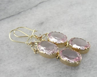Antique Glass of Pale Pink, Gold and Diamond Drop Earrings EYR6TU-N