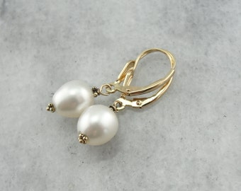 Classic White Pearl Earrings, Great Bridal or Anniversary Gift  EYQEFZ-N