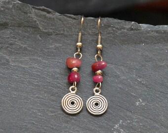 Ruby earrings, Ethnic earrings, July birthstone, Birthday gift, Spiral earrings, Ruby jewelry, Natural gemstone, Dangle earrings, 1105-7