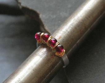 Garnet ring, January birthstone, Birthday gift, Wire wrapped multistone ring, Bohemian gemstone ring, Boho chic jewelry, 1120-Garnet