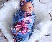 Sky Flowers Swaddle and Headband Set / Swaddle Blanket / Knit Swaddle/ Newborn
