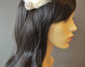 Cream or Ivory Feather Headband Fascinator Pearl and Crystal Bridal Wedding 20s Flapper Headpiece 'Purity' Also in White or Black
