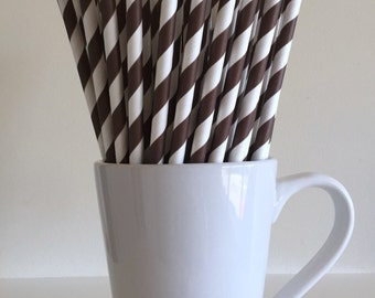 Brown Striped Paper Straws Party Supplies Party Decor Bar Cart Cake Pop Sticks Mason Jar Straws  Party Graduation