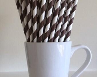 Brown Striped Paper Straws Party Supplies Party Decor Bar Cart Cake Pop Sticks Mason Jar Straws  Party Graduation