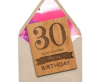 Milestone Birthday Card - 30th Birthday Wood Card - Mini Wood Cards