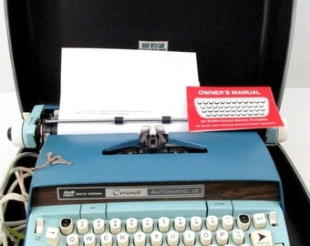 Vintage Smith Corona Electric Typewriter with Case / Working Coronet Automatic 12 Typewriter / Blue Electric Typewriter