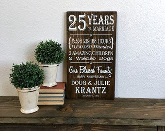 25 Years of Marriage, 25th Anniversary Gift, Anniversary Stats, Milestone Anniversary, One Blessed Family, Custom Sign, Silver Anniversary