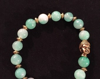 Buddha in the Green Bracelet and Earring set