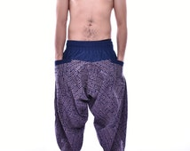Traditional Stone Printed Blue&White Samurai Pants, Trouser, Baggy pants, Yoga 100% Cotton(Unisex) One Size Fit All