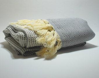 Turkish Bath Towel Gray and Cream Stripes Hammam Turkish Peshtemal Hand Woven Pareo High Quality