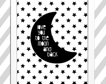 Moon and back wall art- Perfect for your little one's nursery or gift for a loved one!