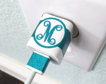 Vine Monogram CHARGER USB WRAP Decal Monogram Custom Label your Charger iPhone iPod Decal