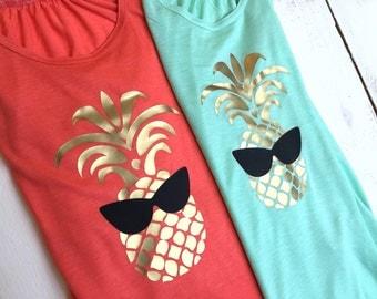 Kawaii Pineapple Loose Racerback Tank Top Beach Tank Vacation Clothes Gold Pineapple Kawaii Fruit
