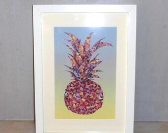 Pineapple art print. Retro home decor. Pop art wall art. Tropical vintage home decor.