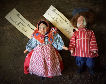 Antique Dolls 1930s Russian Composition Dolls Babushka Soviet Union Pre WWII Depression Era Man & Woman Set Peasant Doll Miniatures Folk Art
