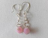 Handmade pink silver earrings. made in Ireland.