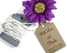Wedding Gift Tags set of 20 - Personalized Kraft Wedding Favor Tags - Kraft Brown Custom Favors - With Love and Thanks - Sentimental Tags