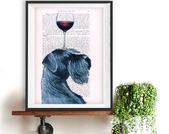 Woodland Schnauzer print, Dog with wineglass, Schnauzer Art Print, Gift for Him, Red, Office Wall Art, Wall Decor, Home Decor, black dog