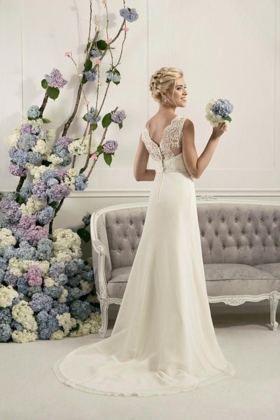 V-cut Lace wedding dress, bridal dress, beach wedding dress, destination wedding dress