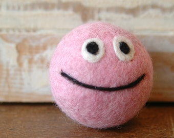 Wool felt ball with bell | Pink | OOAK | ready to ship