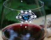 Wine Glass Marker Blue Wine Glass Charm Wine Glass Bling