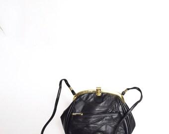 Vintage Real Leather Shoulder Bag Purse with Patchwork Design
