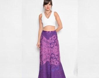 Vintage 70's Purple Maxi Skirt / Tie Dye Purple Skirt
