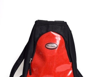Vintage 90's Rossignol Black Mesh and Red Glitter Vinyl Backpack