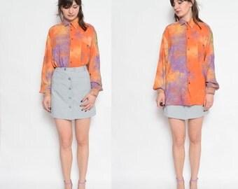 Vintage 90's Tie Dye Button Shirt / Long Sleeve Multi Color Shirt/ Oversized Button Shirt / Batik Button Blouse