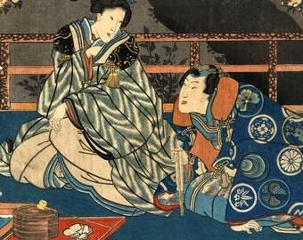 Japanese art, Woman and man beneath a sakura blossoming cherry tree, Preparing tea FINE ART PRINT, Japanese art prints, posters, woodblock