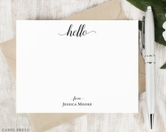Personalized Note Card Set / Flat Script Personalized Stationary / Hello Stationery Personalized Notecards / Personalised // GRACEFUL HELLO