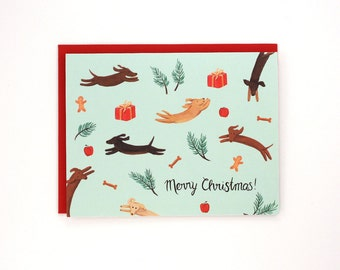Jumping Dogs Holiday Card - Merry Christmas! - handpainted greeting card / HLY-DOGS