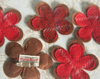 Harris tweed flower brooch in red and brown check