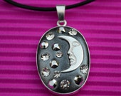 Moon pendant necklace sterling silver