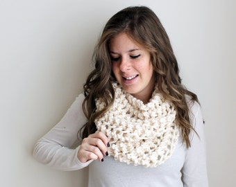 Knitted Scarf Chunky Cowl Fisherman - The Ellicott Cowl